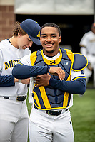 Michigan Wolverines catcher Jordan Rogers (18) before the NCAA baseball game against the Michigan State Spartans on May 7, 2019 at Ray Fisher Stadium in Ann Arbor, Michigan. Michigan defeated Michigan State 7-0. (Andrew Woolley/Four Seam Images)