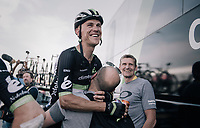 Serge Pauwels (BEL/Dimension Data) shares in the joy at the teambus post-race for teammates Boasson Hagen's stag ewin<br /> <br /> 104th Tour de France 2017<br /> Stage 19 - Embrun › Salon-de-Provence (220km)