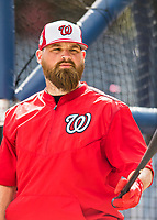 28 February 2017: Washington Nationals catcher Derek Norris awaits his turn in the batting cage prior to the inaugural Spring Training game between the Washington Nationals and the Houston Astros at the Ballpark of the Palm Beaches in West Palm Beach, Florida. The Nationals defeated the Astros 4-3 in Grapefruit League play. Mandatory Credit: Ed Wolfstein Photo *** RAW (NEF) Image File Available ***