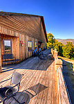 The deck at Stone Mountain Vineyards offers several seating options -- all of which provide fabulous valley views.  (HDR image)