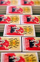 Hay on Wye. Friday 03 June 2016<br />Copies of 'Party Animals' a book written by David Aaronovich at the Hay Festival, Hay on Wye, Wales, UK