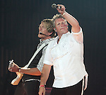 Joe Don Rooney and Gary LeVox of the country music band Rascal Flatts perform at the Susquehanna Bank Center in Camden New Jersey  July 9, 2011.Copyright EML/Rockinexposures.com..