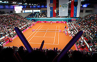General view of Sibamac Arena, during match between Serbia's Bojana Jovanovska and Slovakia's Dominika Cibulkova, during the World Group play-off Fed Cup match in Bratislava, Slovakia, Saturday, Apr. 16, 2011. (Srdjan Stevanovic/Starsportphoto ©).