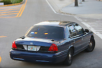 """8 April 2008: Stanford Cardinal police escort vehicle with the license plate """"641 ICE"""" during Stanford's 64-48 loss against the Tennessee Lady Volunteers in the 2008 NCAA Division I Women's Basketball Final Four championship game at the St. Pete Times Forum Arena in Tampa Bay, FL."""