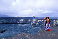 Offering to Pele at Kilauea caldera, Hawaiian ceremonies. Kilauea Volcano. Big Island of Hawaii