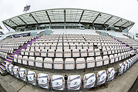 An unusual view of the Shane Warne stand during India vs New Zealand, ICC World Test Championship Final Cricket at The Hampshire Bowl on 19th June 2021