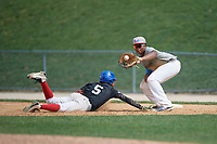 Dylan Jones (7) stretches for a throw as Darol Garcia (5) dives back to the bag during the Dominican Prospect League Elite Underclass International Series, powered by Baseball Factory, on August 1, 2017 at Silver Cross Field in Joliet, Illinois.  (Mike Janes/Four Seam Images)