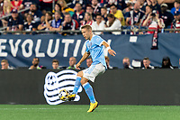 FOXBOROUGH, MA - SEPTEMBER 11: Anton Tinnerholm #3 of New York City FC collects a pass during a game between New York City FC and New England Revolution at Gillette Stadium on September 11, 2021 in Foxborough, Massachusetts.