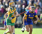 Amy Keating of Inagh-Kilnamona in action against Laura Mc Mahon of Newmarket during their senior county final in Clarecastle. Photograph by John Kelly.