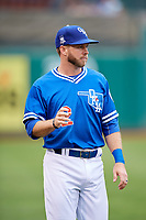Oklahoma City Dodgers Mike Freeman (2) before a game against the Colorado Springs Sky Sox on June 2, 2017 at Chickasaw Bricktown Ballpark in Oklahoma City, Oklahoma.  Colorado Springs defeated Oklahoma City 1-0 in ten innings.  (Mike Janes/Four Seam Images)