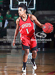Arkansas State Red Wolves guard Jazmine Taylor (1) in action during the NCAA Women's basketball game between the Arkansas State Red Wolves and the University of North Texas Mean Green at the North Texas Coliseum,the Super Pit, in Denton, Texas. Arkansas State defeated UNT 62 to 59