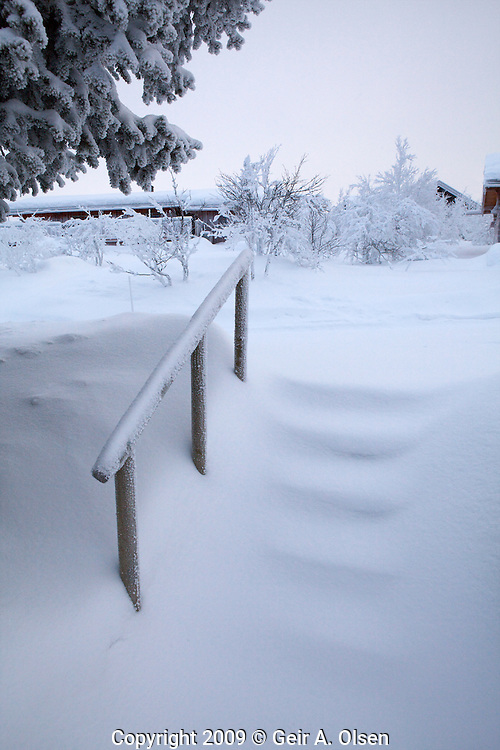 Stairs covered with snow at Venabygdsfjell in the Norwegian mountains close to Lillehammer
