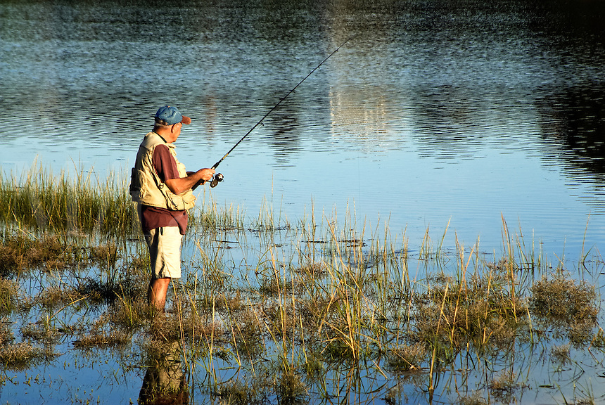 Man fishing, Mill Pond, Orleans, Cape Cod, Massachusetts, USA