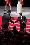 Spain's crown Prince Felipe shakes hands with actor Antonio Banderas during the ceremony to designate ambassadors of the Brand Spain. February 12, 2013. (ALTERPHOTOS/Alvaro Hernandez)