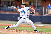 Asheville Tourists pitcher Mike Nikorak (30) delivers a pitch during game one of a double header against the Charleston RiverDogs at McCormick Field on April 9, 2019 in Asheville, North Carolina. The Tourists defeated the RiverDogs 17-3. (Tony Farlow/Four Seam Images)