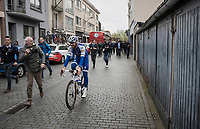 Tom Boonen (BEL/Quick-Step Floors) in his last ever (farewell) race on Belgian soil is followed by fans and press on his way to the start podium<br /> <br /> 105th Scheldeprijs 2017 (1.HC)<br /> 1 Day Race: Mol › Schoten (BEL/202km)
