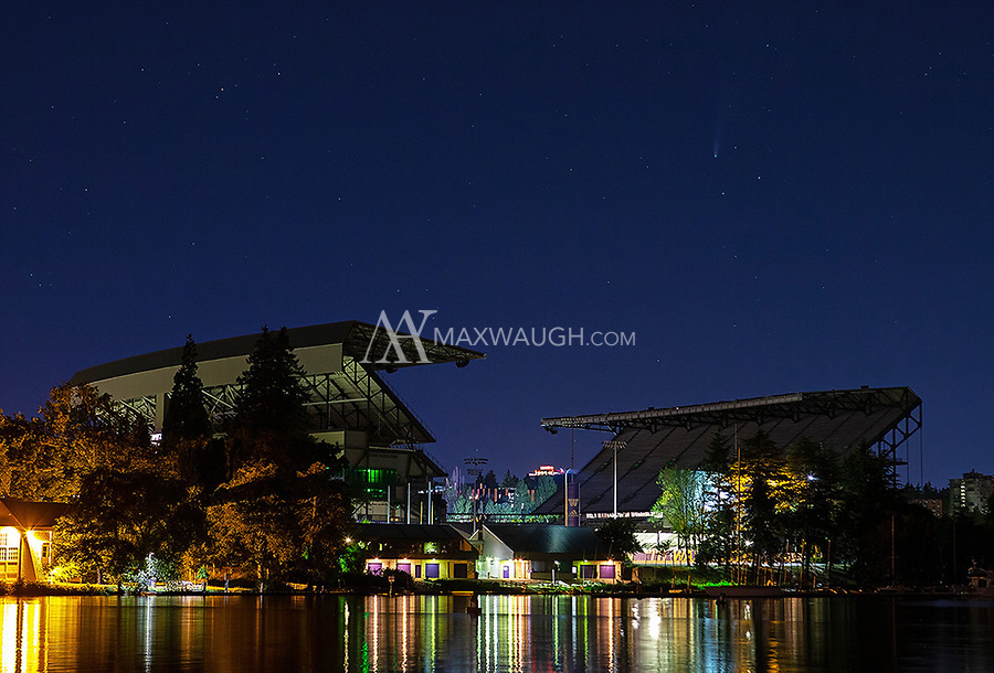 Comet NEOWISE shines above Husky Stadium in Seattle.