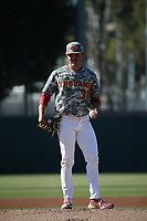 Alex Cornwell (30) of the USC Trojans pitches against the UCLA Bruins at Dedeaux Field on March 28, 2021 in Los Angeles, California. UCLA defeated USC, 13-1. (Larry Goren/Four Seam Images)