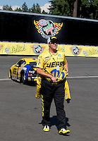 Aug. 4, 2013; Kent, WA, USA: NHRA runner-up Jeg Coughlin Jr during the Northwest Nationals at Pacific Raceways. Mandatory Credit: Mark J. Rebilas-USA TODAY Sports