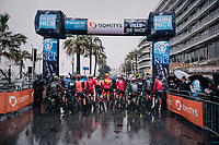 2 minutes before the race start in torrential rained down Nice; most riders are still under shelter waiting for the very last moment to pop up.<br /> <br /> 76th Paris-Nice 2018<br /> Stage 8: Nice > Nice (110km)