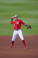 Washington Nationals shortstop Hernán Pérez (3) throws to first base during a Major League Spring Training game against the Miami Marlins on March 20, 2021 at FITTEAM Ballpark of the Palm Beaches in Palm Beach, Florida.  (Mike Janes/Four Seam Images)