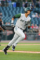 Fort Wayne TinCaps first baseman Luis Tejada (13) during a game against the Great Lakes Loons on August 19, 2013 at Dow Diamond in Midland, Michigan.  Great Lakes defeated Fort Wayne 12-5.  (Mike Janes/Four Seam Images)