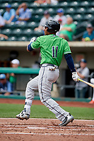 Gwinnett Stripers first baseman Carlos Franco (11) grounds out during a game against the Columbus Clippers on May 17, 2018 at Huntington Park in Columbus, Ohio.  Gwinnett defeated Columbus 6-0.  (Mike Janes/Four Seam Images)