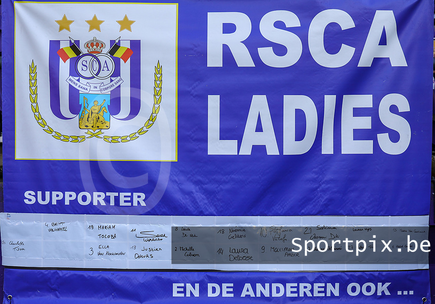 Illustration picture shows the RSCA Ladies banner at a female soccer game between RSC Anderlecht Dames and Standard Femina de Liege on the sixth matchday of the 2021 - 2022 season of Belgian Womens Super League , Saturday 9 th of October 2021  in Brussels , Belgium . PHOTO SPORTPIX | SEVIL OKTEM