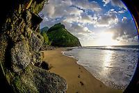 Hanakapi'ai Beach as the sun sets, Na Pali Coast, Kaua'i.