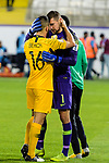 Goalkeeper Mathew Ryan of Australia (R) and Aziz Behich of Australia (L) celebrates following their sides win after a penalty shoot-out in the AFC Asian Cup UAE 2019 Round of 16 match between Australia (AUS) and Uzbekistan (UZB) at Khalifa Bin Zayed Stadium on 21 January 2019 in Al Ain, United Arab Emirates. Photo by Marcio Rodrigo Machado / Power Sport Images