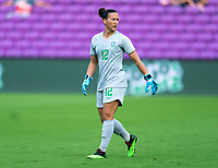 ORLANDO, FL - FEBRUARY 18: Aline #12 of Brazil walks off the field during a game between Argentina and Brazil at Exploria Stadium on February 18, 2021 in Orlando, Florida.