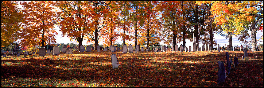 Autumn leaves color a cemetery at Northwood, New Hampshire. Photograph by Peter E, Randall