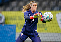 SOLNA, SWEDEN - APRIL 10: Alyssa Naeher #1 of the United States warming up before a game between Sweden and USWNT at Friends Arena on April 10, 2021 in Solna, Sweden.