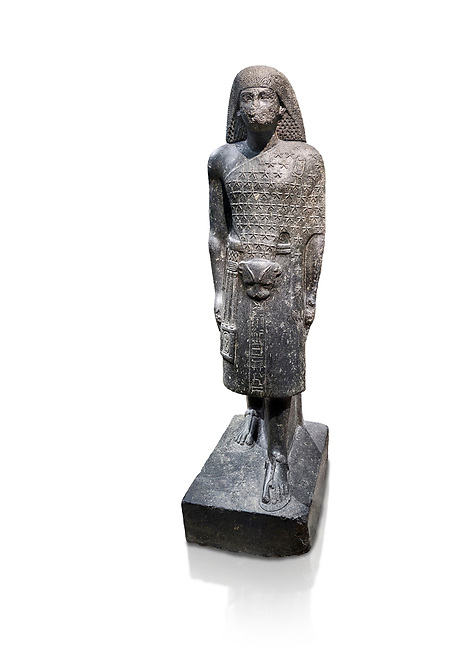 """Ancient Egyptian statue of Aanen, second priest to Amon, granodioite, New Kingdom, 18th Dynasty, (1390-1353, Thebes. Egyptian Museum, Turin. <br /> <br /> A dignitary wearing a wig, a long gown and the leopard skin of a priest. Writing on his belt are the names of Amenhotep III, Aanen and an inscription tells us that the statue depicts the astronomer priest Aanen  by saying """" one knows the procession of the sky"""". Aanen was the brother of the queen Teye wife of Amenhotep III. Drovetti collection, cat 1377"""