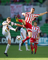 MELBOURNE, AUSTRALIA - January 2:  Rutger Worm of the Heart jumps for the ball during the round 21 A-League match between Melbourne Heart and North Queensland Fury at AAMI Park on January 2, 2011 in Melbourne, Australia. (Photo by Sydney Low / Asterisk Images)