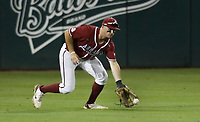 Arkansas outfielder Braydon Webb (8) catches, Saturday, June 5, 2021 during the sixth inning in the second game of the NCAA Fayetteville Regional at Baum-Walker Stadium in Fayetteville. Check out nwaonline.com/210606Daily/ for today's photo gallery. <br /> (NWA Democrat-Gazette/Charlie Kaijo)