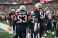 FOXBOROUGH, MA - OCTOBER 27: New England Patriots Linebacker Kyle Van Noy #53 and New England Patriots Linebacker Dont'a Hightower #54 after a fumble recovery and touchdown during a game between Cleveland Browns and New Enlgand Patriots at Gillettes on October 27, 2019 in Foxborough, Massachusetts.