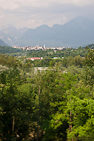 View over the treetops and a medieval Italian village to the Dolomite mountains