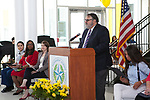 Principal of Sharpstown HS, Dan De Leon, speaking at Grand Opening of new school building. May 3, 2018.