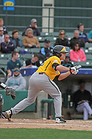 Wichita State Shockers infielder Cody Bobbit #6 at bat during a game against the Coastal Carolina Chanticleers at Ticketreturn.com Field at Pelicans Ballpark on February 23, 2014 in Myrtle Beach, South Carolina. Wichita State defeated Coastal Carolina by the score of 5-2. (Robert Gurganus/Four Seam Images)