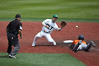 Nate Furman (16) of the Charlotte 49ers waits for the throw as Shea Gutierrez (3) of the UTSA Roadrunners slides into second base as umpire Mike Mazza looks on at Hayes Stadium on April 18, 2021 in Charlotte, North Carolina. (Brian Westerholt/Four Seam Images)