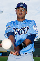 Christian Colon #12 of the Wilmington Blue Rocks at  BB&T Ballpark August 4, 2010, in Winston-Salem, North Carolina.  Colon was drafted in the 1st round, 4th overall, by the Kansas City Royals in the 2010 First Year Player Draft.  Photo by Brian Westerholt / Four Seam Images