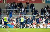 28th May 2021; AJ Bell Stadium, Salford, Lancashire, England; English Premiership Rugby, Sale Sharks versus Bristol Bears; Fans have the chance to celebrate after Sale score a third try against the bears