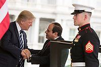 President Donald Trump welcomes Egyptian President Abdel Fattah el-Sisi, Monday, April 3, 2017, at the West Wing entrance of the White House in Washington, D.C. (Official White House Photo by Shealah Craighead)