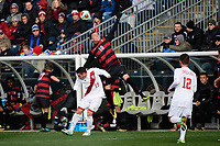 Chester, PA - Sunday December 10, 2017: Francesco Moore, Corey Baird. Stanford University defeated Indiana University 1-0 in double overtime during the NCAA 2017 Men's College Cup championship match at Talen Energy Stadium.