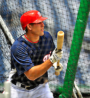 24 May 2009: Washington Nationals' pitcher Craig Stammen practices bunting prior to a game against the Baltimore Orioles at Nationals Park in Washington, DC. The Nationals rallied to defeat the Orioles 8-5 and salvage one win of their interleague series. Mandatory Credit: Ed Wolfstein Photo