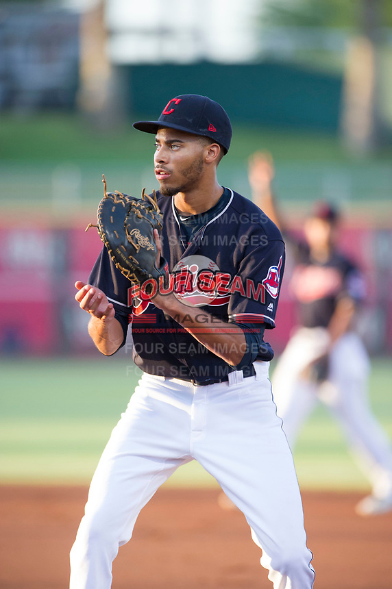 AZL Indians first baseman Michael Cooper (38) on defense against the AZL Rangers on August 26, 2017 at Goodyear Ball Park in Goodyear, Arizona. AZL Indians defeated the AZL Rangers 5-3. (Zachary Lucy/Four Seam Images)
