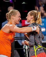 The Hague, The Netherlands, Februari 7, 2020,    Sportcampus, FedCup  Netherlands -  Balarus, Seccond match on friday:  Kiki Bertens (NED) is being congratulated by Aliaksandra Sasnovich (BLR) (R)<br /> Photo: Tennisimages/Henk Koster
