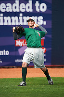 Fort Wayne TinCaps pitcher Kyle McGrath (14) throws in the outfield before a game against the Lake County Captains on May 20, 2015 at Classic Park in Eastlake, Ohio.  Lake County defeated Fort Wayne 4-3.  (Mike Janes/Four Seam Images)