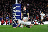 George Ford of England scores a try under the posts